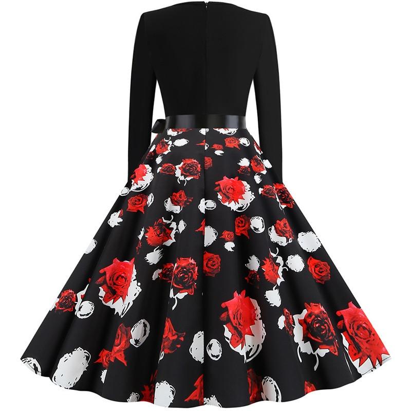 Women Long Sleeve Winter Vintage Dresses Sexy Black Music Note Print V-neck Rockabilly Pin up Party Dress Vestidos Plus size 663