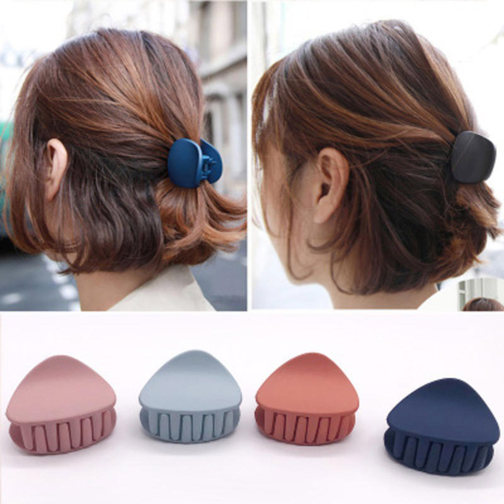 1PC 2019 Korean Fashion Design Women Hair Claw Solid Color Hair Crab Retro Square Scrub Hair Clips Small Size
