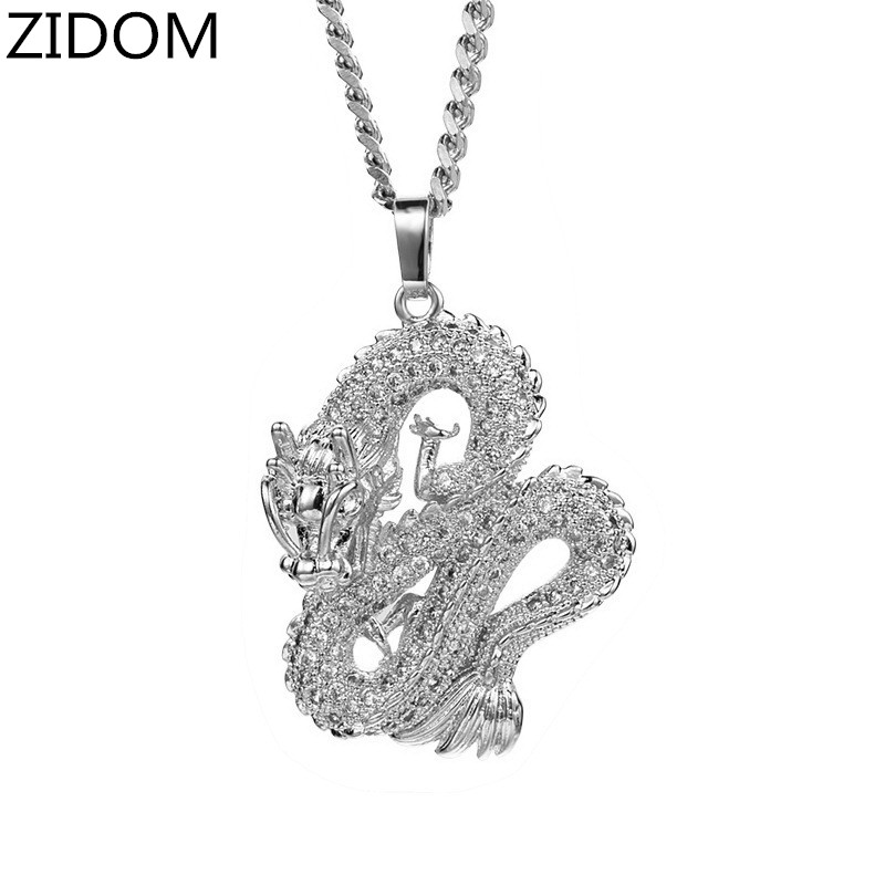 Men Hip hop iced out Chinese dragon Pendant Necklaces High quality AAA Zircon Male Hiphop pendants necklace charm jewelry gifts|Pendant Necklaces| - AliExpress