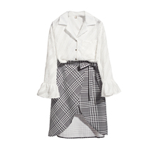 Fall 2019 New Horn Sleeve Shirt Skirts Irregular Grid Two-Piece Outfit Women Top Blouse Vestido Fashion Design