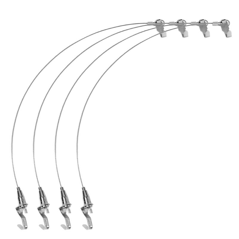 4pcs Stainless Steel Wire Rope Hooks 0.5m Movable Home Hardware For Hanging Display Paintings Photographs Decoration