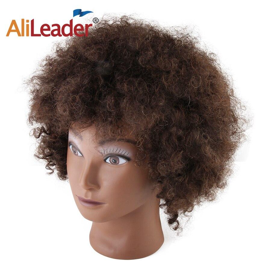Качественный манекен AliLeader с куклой афро-парикмахеров, голова из вьющихся человеческих волос для укладки коротких волос
