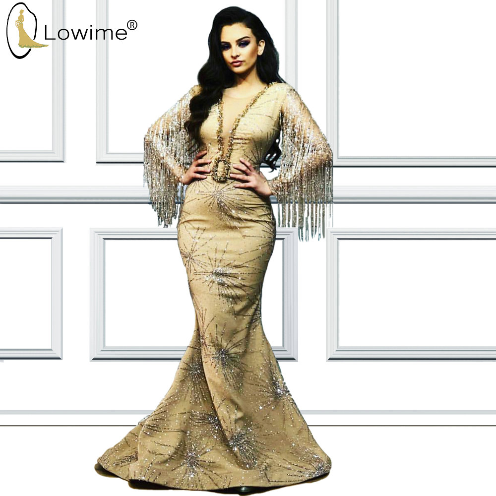 Dubai Sparkly Mermaid Sequined Evening Dresses With Tassel Illusion V Neck Floor Length Prom Party Dresses Long Femme Robe