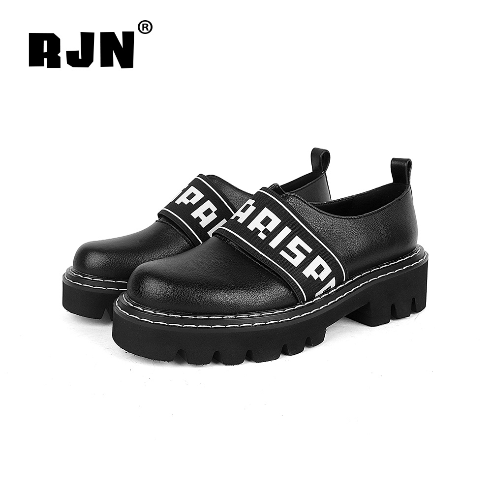 New RJN Fashion Women Pumps Letter Decoration Sewing Cow Leather Mixed Color Comfortable Round Toe Med Heel Shoes Slip-On Pumps R34