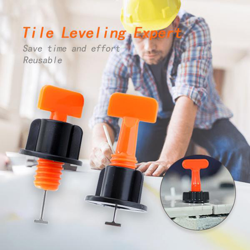 Reusable Tile Leveling System 50pcs/set Adjustable Locator Plier Wedge Spacer Leveling Alignment Spacer Tiles Sticker Tiles Tool