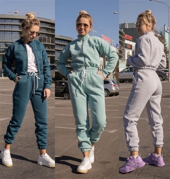 2020 Autumn Winter Jogging Two Piece Set Womens Tracksuits Sweaterpants Thick Warm Clothes Solid Color Jacket Suit Female