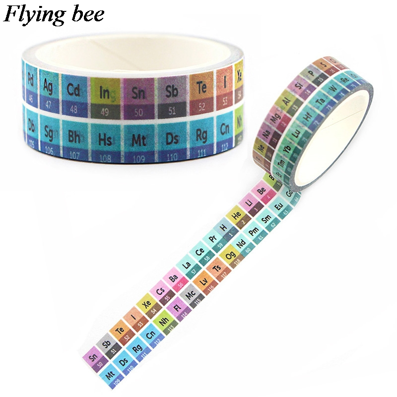 Flyingbee 15mmX5m Paper Washi Tape Periodic Table Of The Elements Adhesive Tape DIY Scrapbooking Sticker Tape X0599