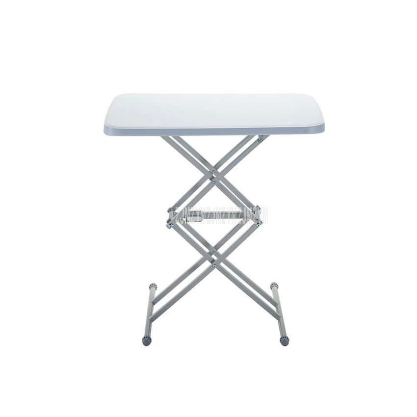 Foldable Outdoor Table Steel Frame Portable Camping Traval Picnic Table 4 Gear Height Adjustable Household Barbecue Table