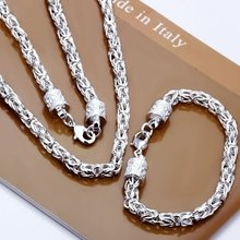 Christmas Gift Pretty Wedding Silver Color Fashion Men Women Classic Party Chain Necklace Bracelet Jewelry Set Flat /adsaiuza(China)