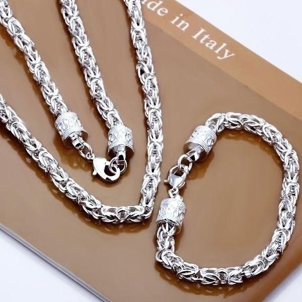 Christmas Gift Pretty Wedding Silver Color Fashion Men Women Classic Party Chain Necklace Bracelet Jewelry Set Flat /adsaiuza