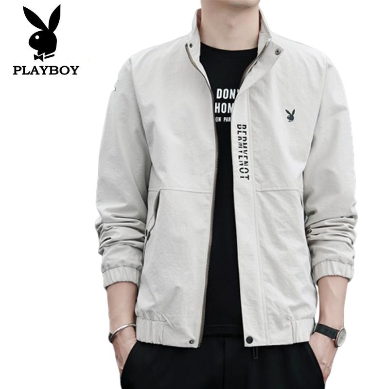 2020 Brand Playboy Trend Men's Slim Casual Fashion Wild Stand Collar Metal Zip Good Quality Jacket
