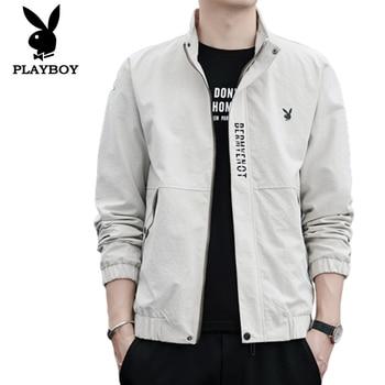 2020 brand Playboy Trend Men's Slim Casual Fashion Wild Stand Collar Metal Zip good quality Jacket цена 2017