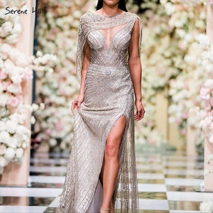 Image 1 - Serene Hill  Gold Silver  V neck Sexy Evening Dresses 2020 Beading Sleeveless Split Mermaid Evening Gowns Real Photo DLA70301