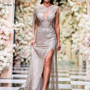 Image 1 - 穏やかな丘ゴールドシルバー v ネックのセクシーなイブニングドレス 2020 ビーズノースリーブスプリットマーメイドイブニングドレスリアルフォト DLA70301