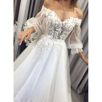 Eightree Princess Wedding Dress Puff Sleeve Long Bridal Dresses Lace Appliques Gown Sweetheart Vestido De Noiva - discount item  33% OFF Wedding Dresses