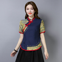 New Summer Dresses, Ethnic Embroidery, Silk and Satin Stitching Cotton and Hemp Short Sleeve Top, Recreational and Ancient mesh