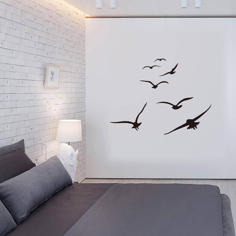 HonC A Flock Of Seabirds Wall Stickers Living Room Bedroom Home Background Diy Decoration Mural Art Decals Carved Stickers