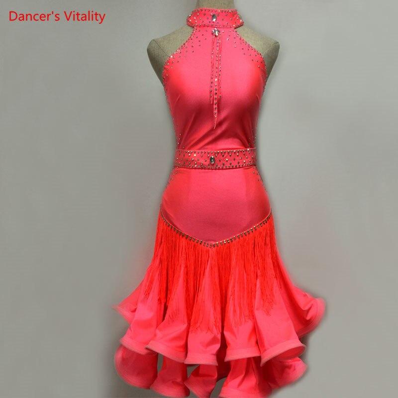 Latin Dance Dress Women Competition Costumes Rose Red Dress Dance Wear Cusromized Size/Colors Latin Dress