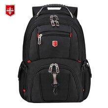 Swiss erkek sırt çantası 15.6/17 inç bilgisayar dizüstü okul seyahat çantaları Unisex büyük kapasiteli sırt çantası su geçirmez iş mochila