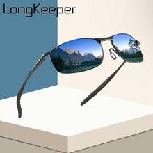 LongKeeper Men Polarized Sunglasses Brand Designer Photochromism Sun Glasses Male Classic Square Driving Goggles UV400
