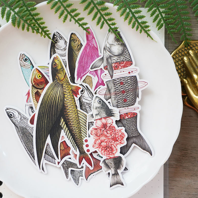 16pcs Flying Fish Vintage Stickers Crafts Scrapbooking Stickers Book Student Label Decorative Sticker DIY Stationery
