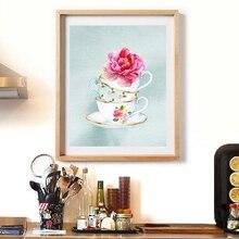 Teacup impresión Floral acuarela Teacups té cocina pared arte lienzo pintura Vintage té tazas cartel té fiesta Decoración