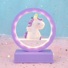 Music Night Light Bedroom Decoration Girl Heart Personality Birthday Gift Dreamy Unicorn No Battery Included Pink/Purple/Blue