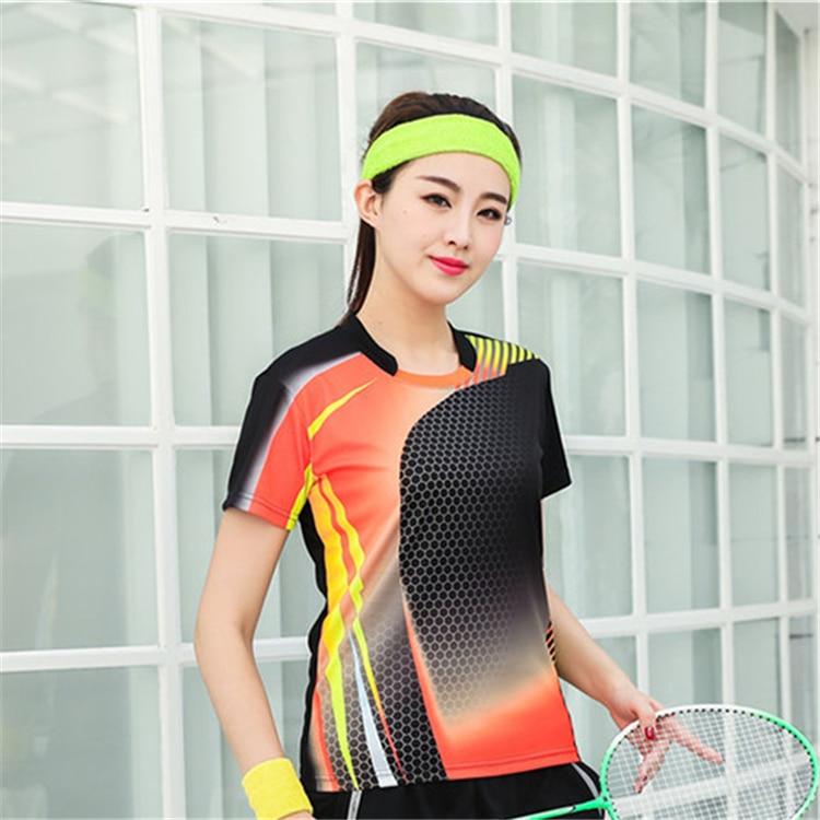 Быстросохнущая, впитывающая пот и дышащая рубашка для бадминтона, топ для соревнований, тренировочный костюм для бега, мужской и женский короткий рукав - Цвет: 1813Bfemale2