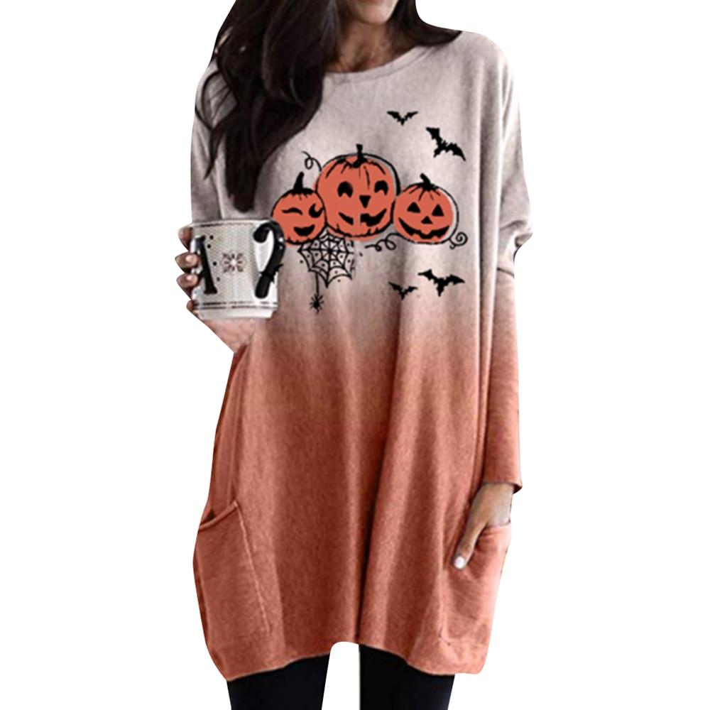 2020 Long Sleeve Dress Women Halloween Pumpkin Printed Dresses Ladies Casual Pockets Dress Female Mini Party Dress Vestidos D30
