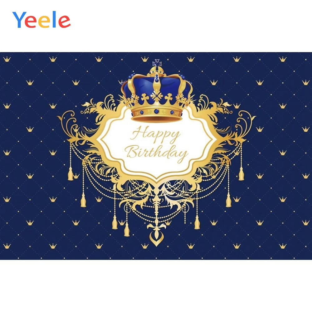 Yeele Baby Boy Birthday Backdrop Crown Chandelier Prince Royal Photocall Customized Photography Background For Photo Studio in Background from Consumer Electronics
