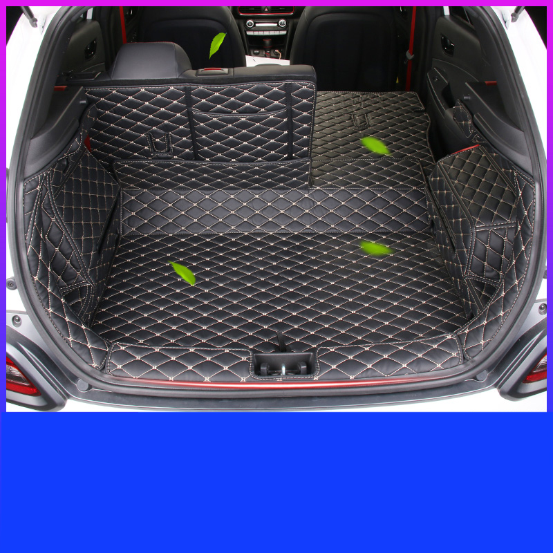 Lsrtw2017 for Hyundai Encino Kona luxury wearable Leather Car Trunk Mat cargo liner 2018 2019 2020 luggage boot rug carpet
