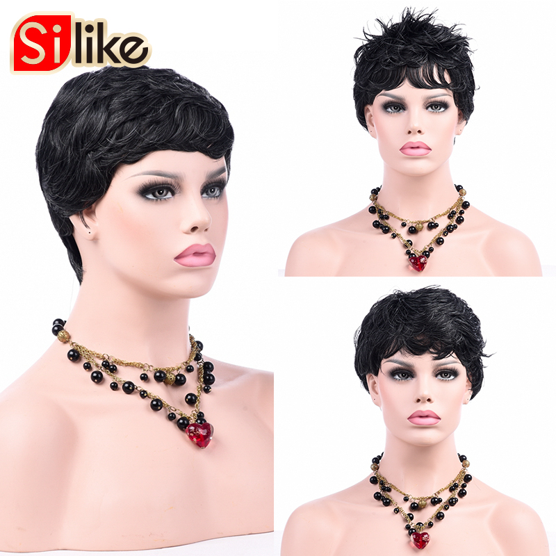 Silike Short Wig Black Grey Synthetic Wigs With Side Bang For Black Women Pure Dark Grey Ombre Wigs Natural Wave Hair