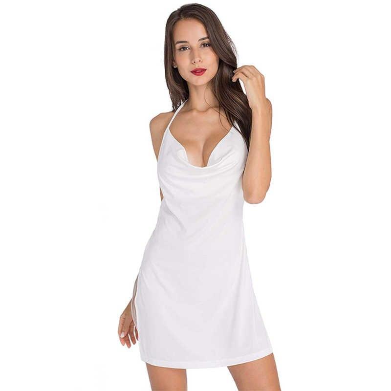 Yaz elbisesi 2019 rahat moda kadınlar seksi katı Bodycon Mini elbise Vestido Backless Ropa Mujer Jurk artı boyutu kulübü parti elbise