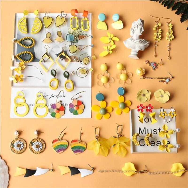 2019 חדש לימון מתוק חמוד פרח תליון עגילי אופנה סוכריות צהוב מתכת סדיר נשים תכשיטי חתונה מסיבת ילדה מתנות