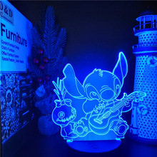 Cartoon Stitch 3D Night Light LED Table Lamp Acrylic Panel USB Cable 7 Color Change Touch Base Lamp Home Decor Holiday Kids Gift