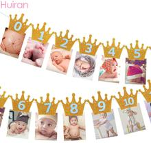 Huiran First 1st Baby Birthday Banner Flag 1 2 3 Years Happy Party Kids Decor Girl Boy Shower