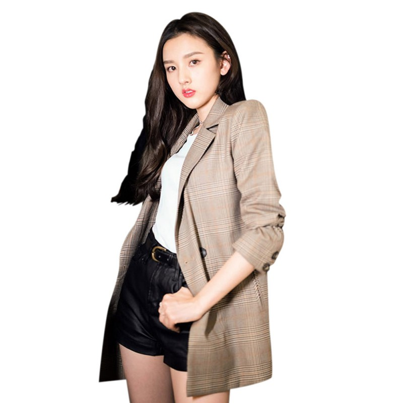 Vintage Plaid Women Blazer Pockets Jackets Casual Long Sleeve Female Retro Suits Coat Feminino Blazer Outerwear High Quality