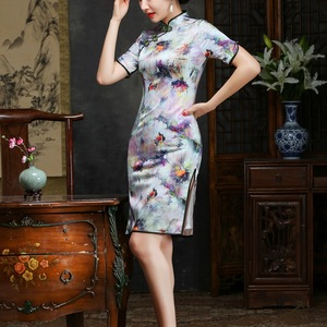 Image 3 - 2019 The New Floor length Scalloped Direct Selling Cheongsam Embroidered Fashion In High grade Cultivate Morality Sleeve Silk