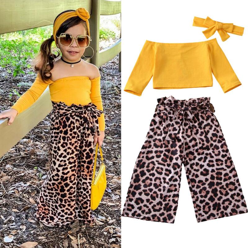 US Toddler Baby Kids Girls Off Shoulder Tops+Long Pants Outfits 3PCS Clothes Set