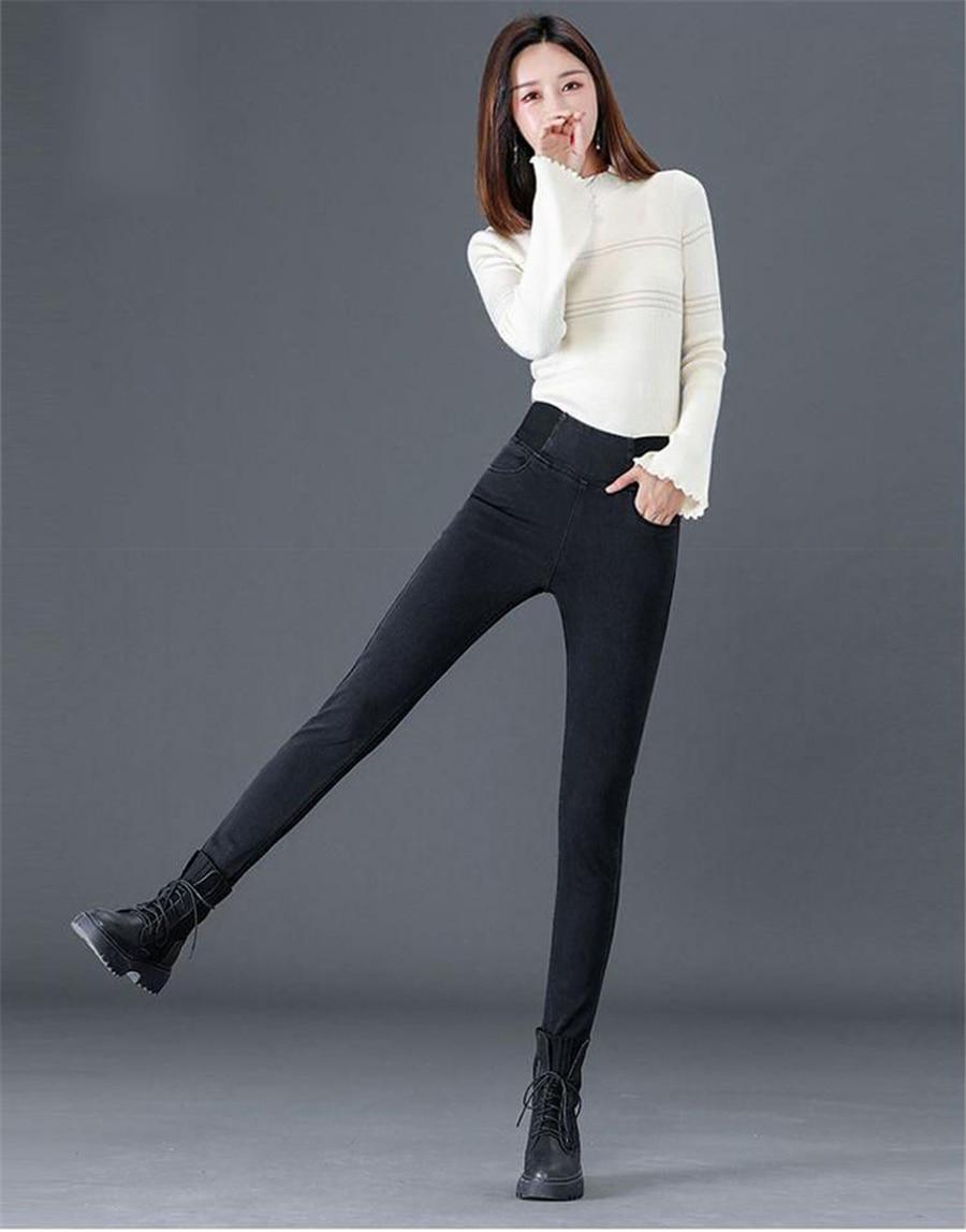Pants Plus Size 26-34 Slim Jeans For Women Skinny High Waist Jeans Woman Blue Denim Pencil Pants Stretch Waist Women Basic Jeans