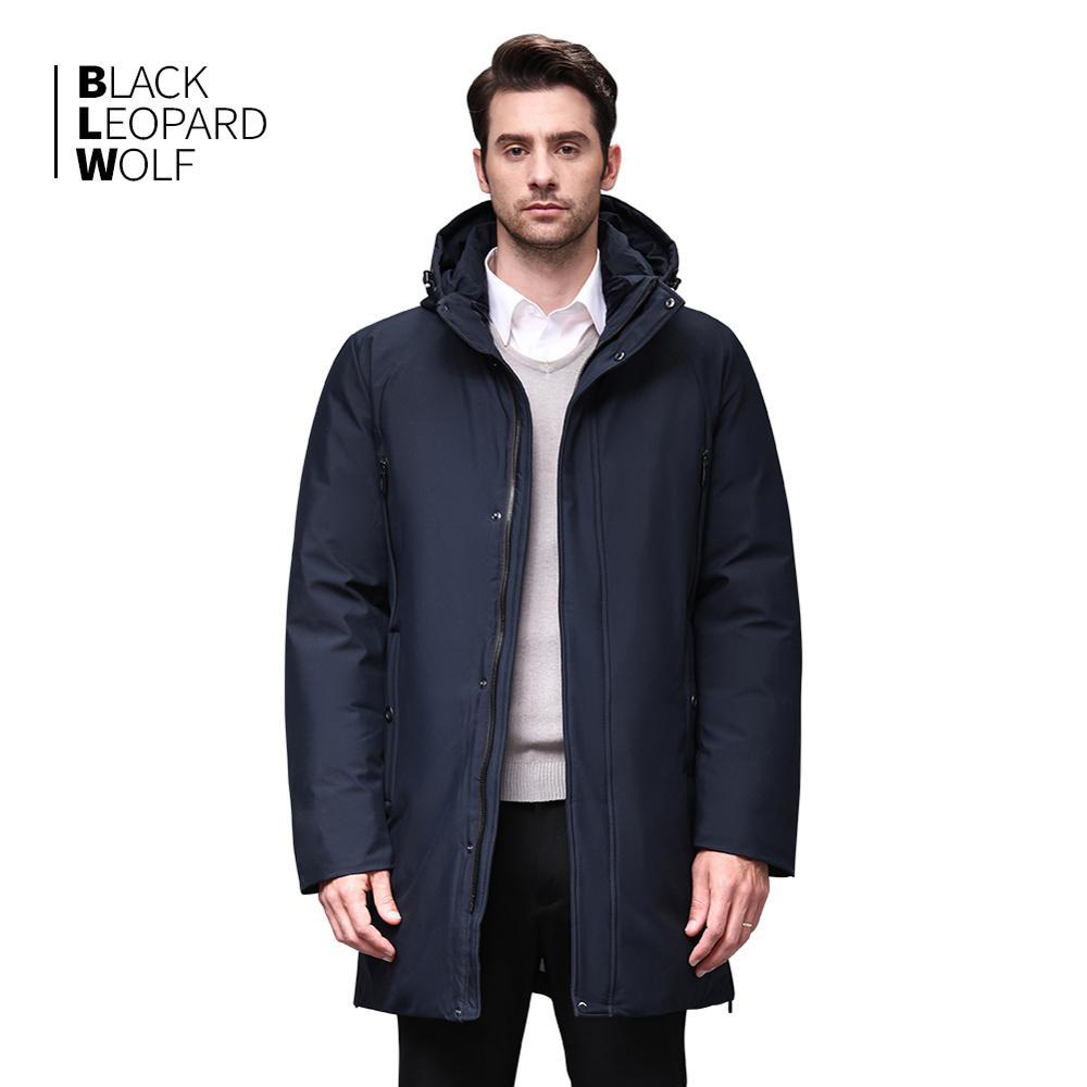 Blackleopardwolf 2019 Winter Men Coat Detachable Hood Warm Jacket Cotton Padded Winter Down Jacket Men Clothes BL-852