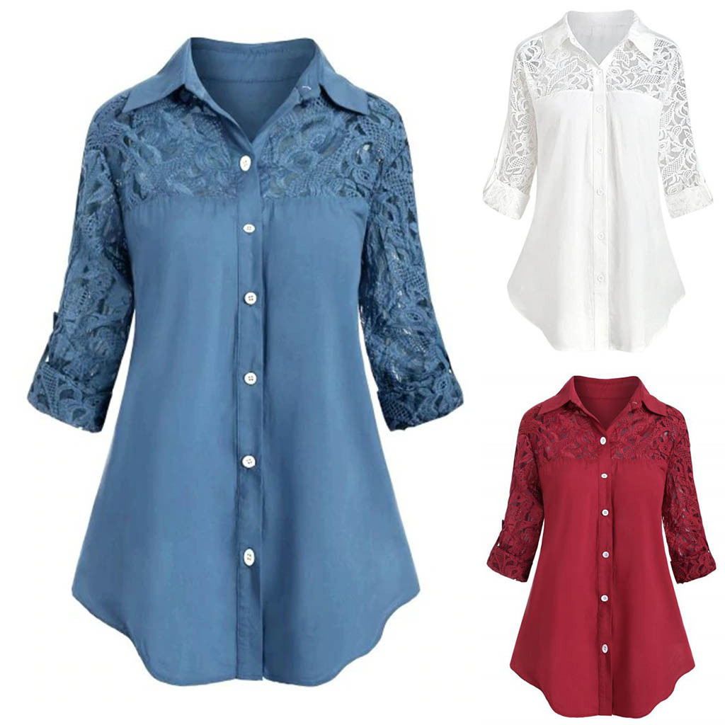 Lace Blouse Women Women Ladies Large Size Button Lace Blusas Turn Down Collar Plus Size Long Sleeve Shirt Blous Ropa Mujer