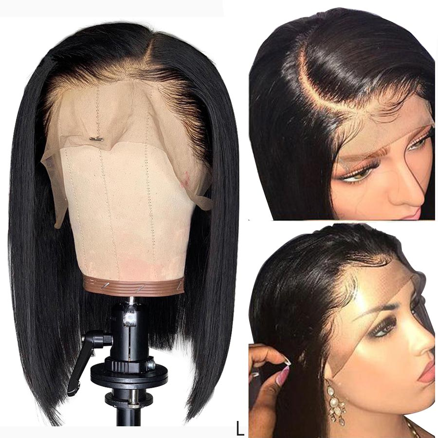 13x4 Lace Front Wig Remy Straight Short Bob Wig Real Human Hair Toppers For Black Women My First Wig Frontal Ponytail 150%