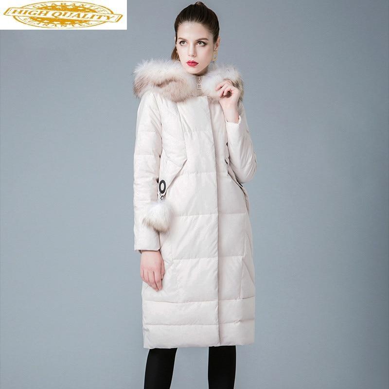Winter Coat Women White Duck Down Jacket Woman Hooded Raccoon Fur Collar Long Down Coat Warm Women's Jackets 8841187 KJ2625