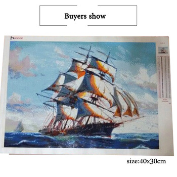 HUACAN Ship Diamond Painting Cross Stitch Needlework Craft Gift DIY 5D Diamond Mosaic Embroidery Landscape