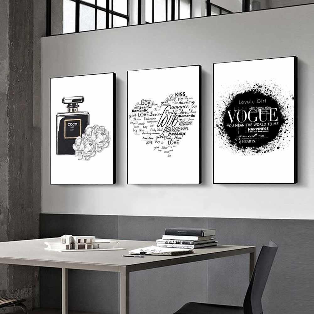 Теперь модная Художественная масляная живопись в черно-белом стиле духи туфли на высоком каблуке холст для девушек спальня домашняя мебель декоративные фрески