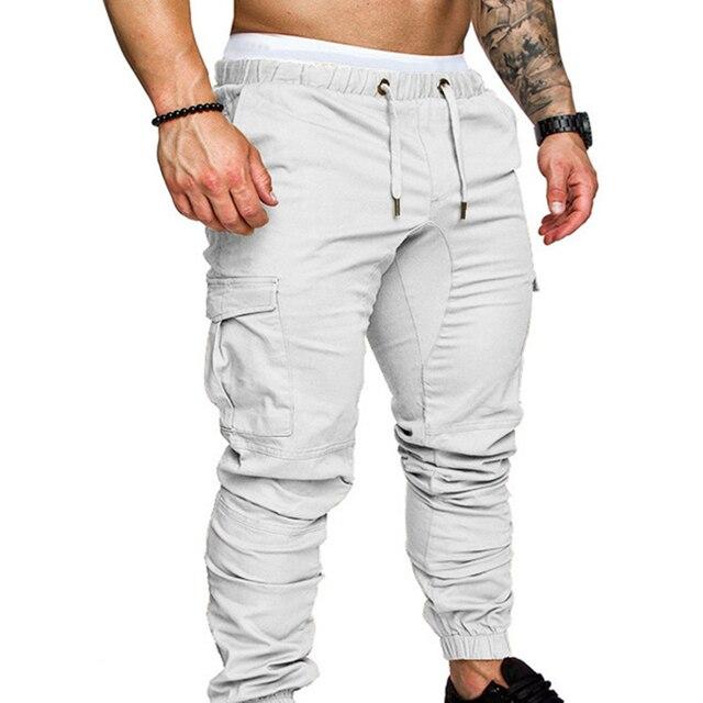 Pantalones informales con bolsillos para hombre, cordón de cintura, tobilleros, ajustados, Cargo, Color sólido 2