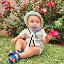 Pureborn bebê recém nascido menino macacão marinheiro férias roupas do bebê verão respirável algodão bebê macacão roupas de natal para meninos