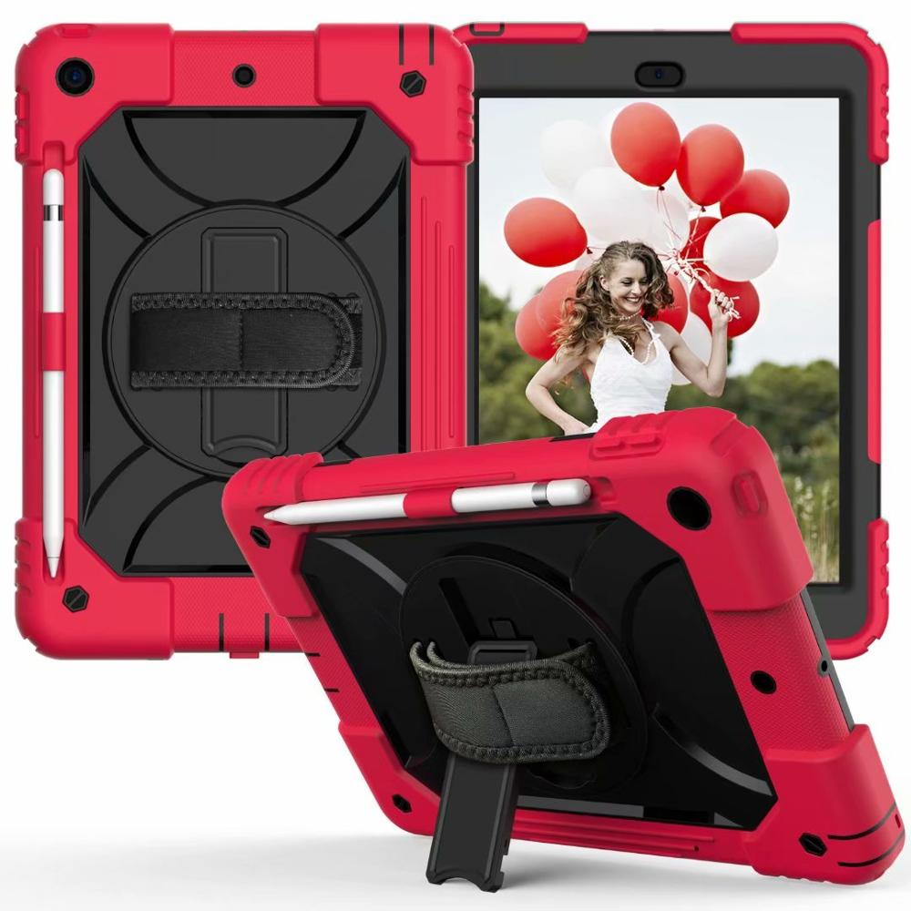 red black Khaki For iPad 7th Generation Case 360 Rotating Stand Hand Strap Pencil Holder Cover For iPad 10