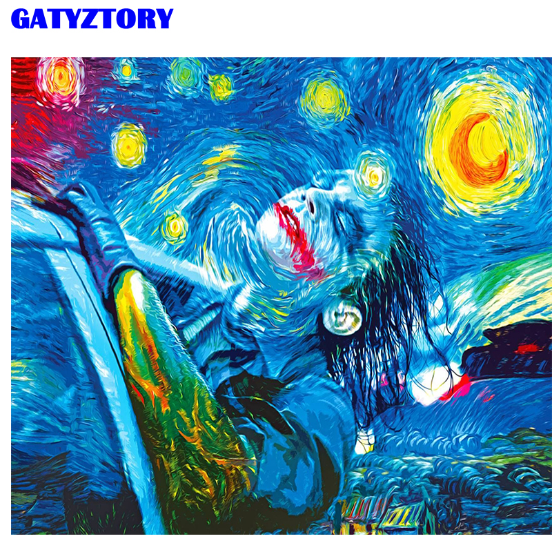 GATYZTORY DIY Digital Painting Abstract Sky Frame Oil Painting By Numbers Kits Acrylic Wall Art For Artwork